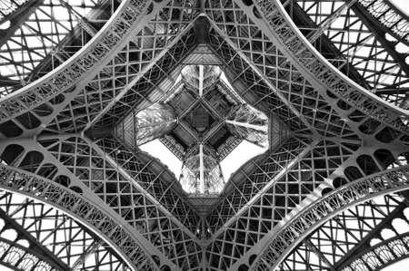 Foto de The Eiffel tower, view from below, Paris, France - Imagen libre de derechos