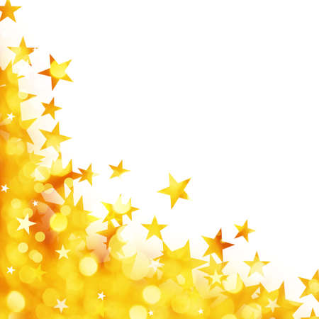 Foto de Shiny background of golden lights with stars isolated on white background - Imagen libre de derechos