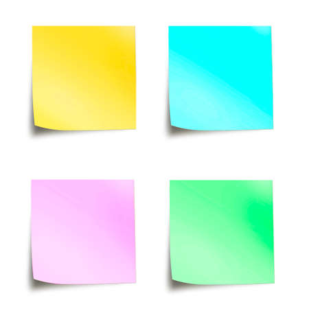 Photo pour Four pastel colored sticky notes isolated on white background - image libre de droit