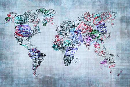 Foto de World map created with passport stamps, travel concept - Imagen libre de derechos