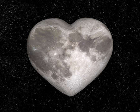 Foto de Moon in the shape of a heart - Imagen libre de derechos
