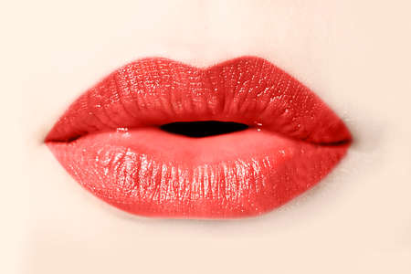 Girl red lips close up