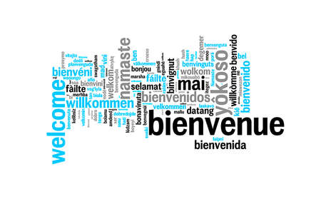 Foto per Word Welcome translated in many languages, multilingual word cloud on white background - Immagine Royalty Free