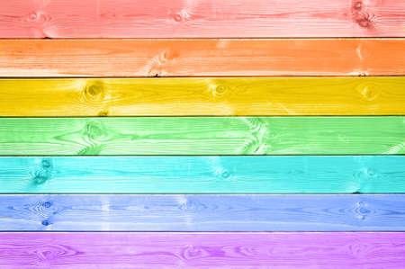 Photo pour Pastel colorful rainbow painted wood planks background - image libre de droit