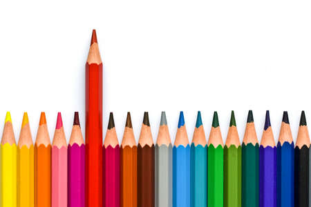 Photo pour Colorful wooden pencils isolated on white background - image libre de droit