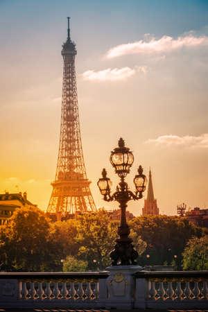 Photo pour Street lantern on the Alexandre III Bridge against the Eiffel Tower in Paris, France - image libre de droit