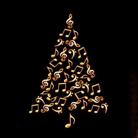 Photo for Christmas tree made of shiny golden musical notes on black background - Royalty Free Image