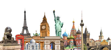 Foto de World landmarks photo collage isolated on white background, travel, tourism and study around the world concept - Imagen libre de derechos