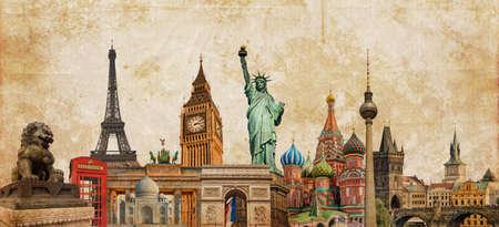 Photo pour World landmarks photo collage on vintage tes sepia textured background, travel, tourism and study around the world concept, vintage postcard - image libre de droit