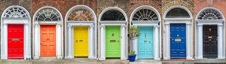 Photo pour Panoramic rainbow colors collection of doors in Dublin, Ireland - image libre de droit