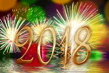 Photo pour 2018 golden numbers, fireworks background - image libre de droit