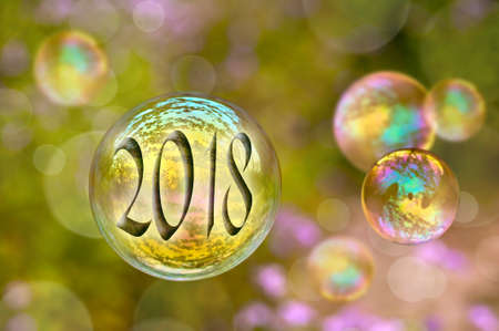 Photo for 2018 soap bubble greeting card - Royalty Free Image