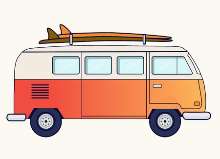 Illustration pour Retro travel van - image libre de droit