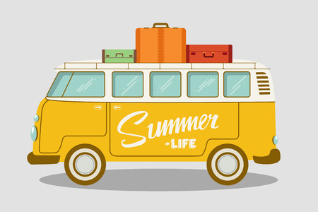Ilustración de Camping bus or camper van vector illustration. School bus. Vector flat concept on the theme of summer vacation - Imagen libre de derechos