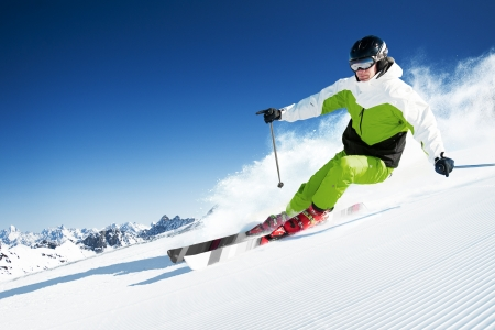 Photo for Skier in mountains, prepared piste and sunny day - Royalty Free Image