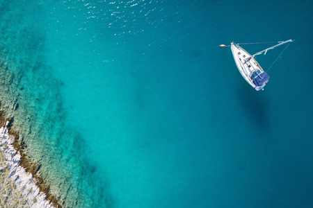 Photo for amazing view to boat, clear water - caribbean paradise - Royalty Free Image