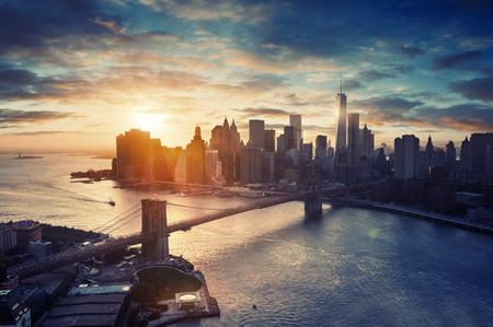 Photo for New York City - Manhattan after sunset , beautiful cityscape - Royalty Free Image