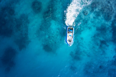 Photo for Speed boat on the azure sea - Royalty Free Image