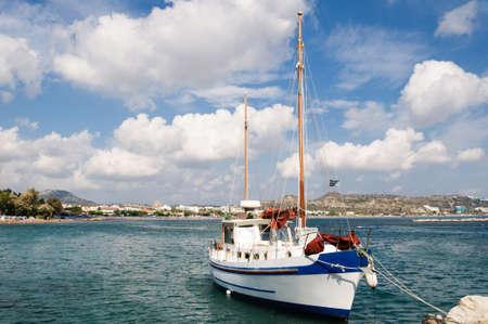 Photo for Sailing ship on the pier in Faliraki Bay, Greece. - Royalty Free Image