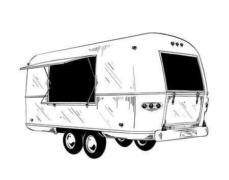 Illustration pour Vector engraved style illustration for posters, decoration and print. Hand drawn sketch of food truck in black isolated on white background. Detailed vintage etching style drawing. - image libre de droit
