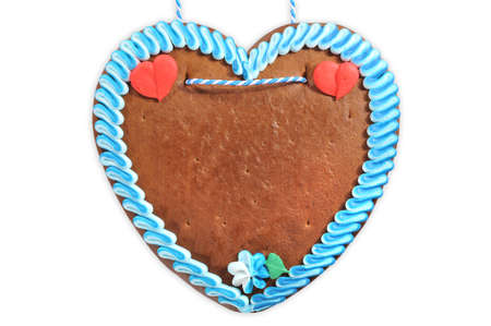 Foto de unlabeled original bavarian gingerbread heart from Germany on white background - Imagen libre de derechos