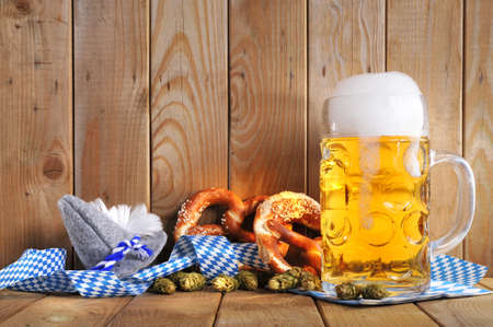 Foto de original bavarian pretzels soft with Oktoberfest beer mug and costume has from Germany - Imagen libre de derechos