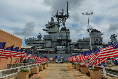 Photo for The Battleship USS Missouri at anchor in Pearl Harbor, Hawaii  - Royalty Free Image