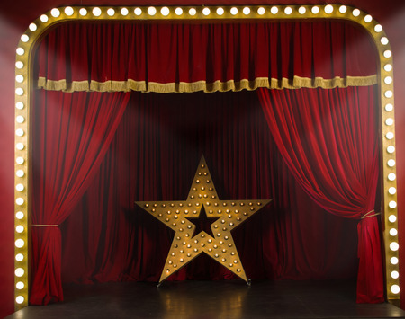 Photo for Theater stage with red curtains and spotlights. Theatrical scene in the light of searchlights - Royalty Free Image