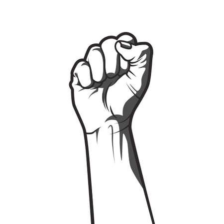 Ilustración de Vector illustration in black and white  style of a clenched fist held high in protest. - Imagen libre de derechos