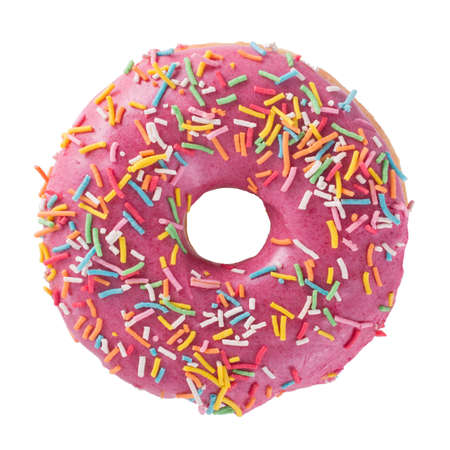 Photo for Donut with sprinkles isolated on white background top view - Royalty Free Image