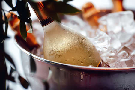 Photo for Bottle of white wine sparkling in a bucket of ice, leaves, close-up, iny, droplets, condensation, bokeh, blurred background - Royalty Free Image