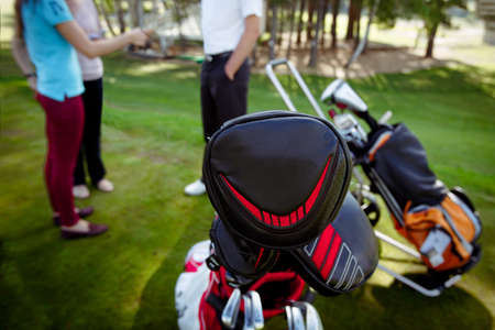 Photo pour Clubs in cases in bag on pull bag in Golf Club. - image libre de droit