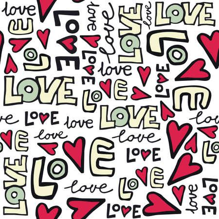 love retro colors graffiti seamless pattern on white