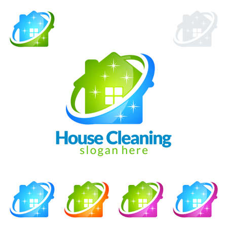 Illustration for Cleaning Service vector Logo design, Eco Friendly with shiny broom and circle Concept isolated on white Background - Royalty Free Image