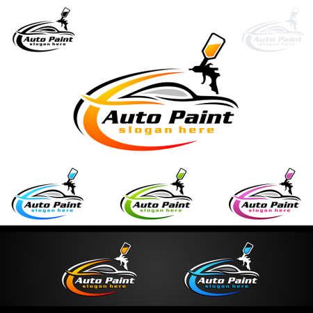 Illustration pour Car Painting Logo with Spray Gun and Sport Car Concept - image libre de droit