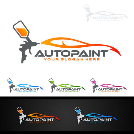 Illustration pour Car Painting Logo with Spray Gun and Sport Car Concept - image libre de droit