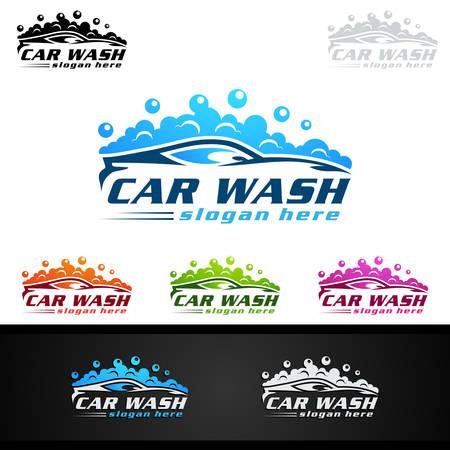 Illustration pour Car Wash Logo, Cleaning Car, Washing and Service Vector Logo Design - image libre de droit
