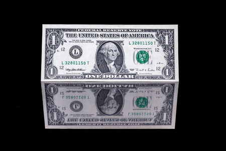 Photo for one dollar bill as well as the front and the back with reflection - Royalty Free Image