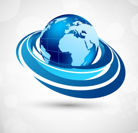 Blue background with earth and circles