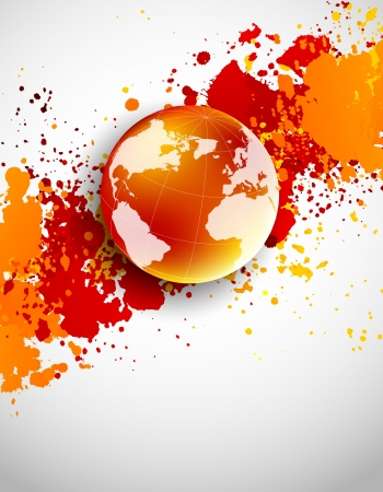 Illustration pour Abstract grunge background with globe in orange color - image libre de droit