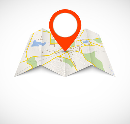 Illustration pour Navigation map with red pin - image libre de droit