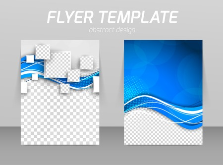 Ilustración de Abstract flyer template design with wave in blue color and squares - Imagen libre de derechos