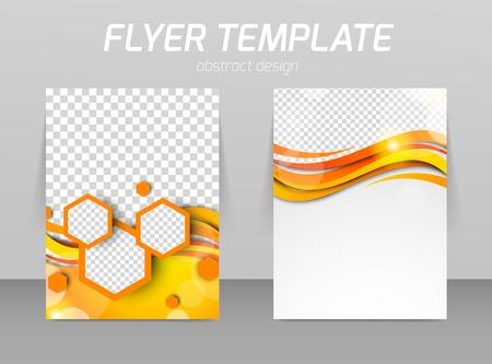 Ilustración de Abstract flyer template design with waves and hexagons - Imagen libre de derechos