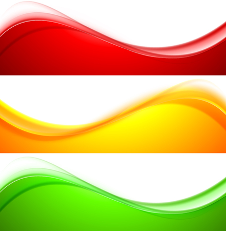 Ilustración de Set of wave banners abstract vector illustration - Imagen libre de derechos