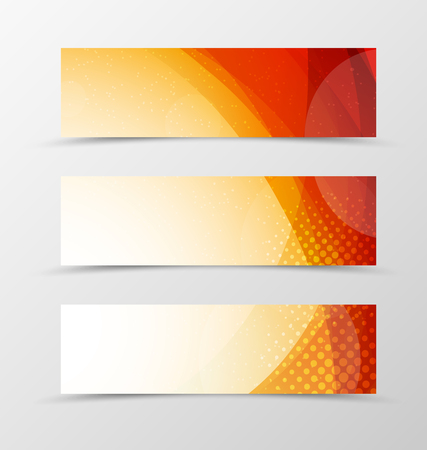 Illustration pour Set of header banner wave design with orange lines, transparent circles and halftone effect in light style. Vector illustration - image libre de droit