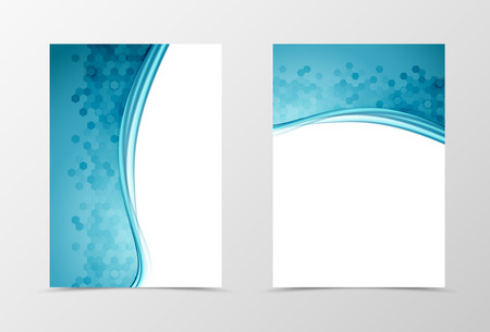 Ilustración de Front and back science flyer template design. Abstract template with blue lines and hexagons surface in wavy style. Vector illustration - Imagen libre de derechos