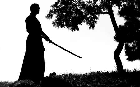 Samurai silhouette in front of tree