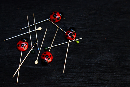 Photo for Messy Lady Bug Clay and Round Head Pins on Black Wood Background - Royalty Free Image