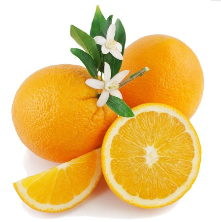 Photo for Orange, flower and slice  Isolated on a white background   - Royalty Free Image