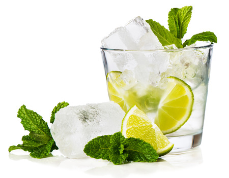 Foto de   Caipirinha is Brazil's national cocktail, made with cachaca, sugar and lime. Isolated on white background. - Imagen libre de derechos